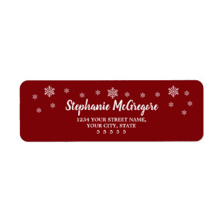 Red Holidays Christmas Snowflakes Return Address Label