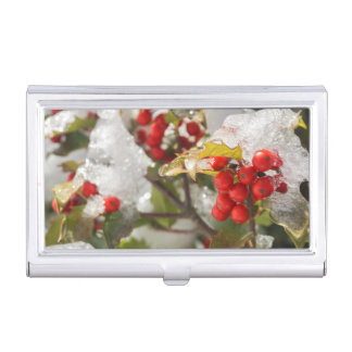 Red Holly Berries Snow and Ice Business Card Holder
