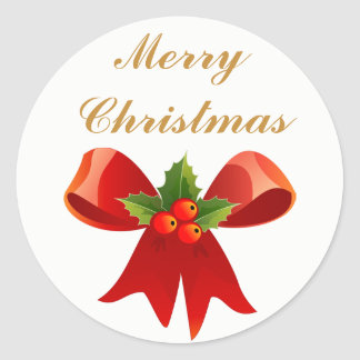 Red Holly Bow Merry Christmas or Happy Holidays Classic Round Sticker