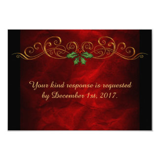 Red Holly Christmas Wedding Menu RSVP Card