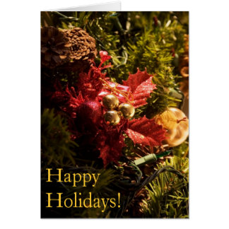Red Holly Decorated Christmas Tree Greeting Cards