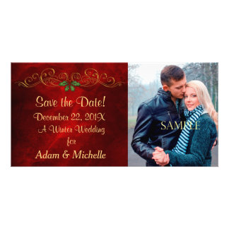 Red Holly Winter Wedding Save the Date Custom Photo Card