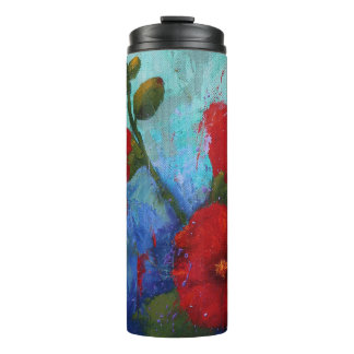 Red Hollyhocks Thermal Tumbler
