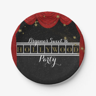 Red HOLLYWOOD Curtains & Gold Party Custom Paper Plate