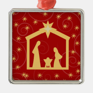 Red Holy Night Nativity Christmas Ornament
