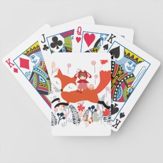 Red hood riding girl and fox in flower garden bicycle playing cards
