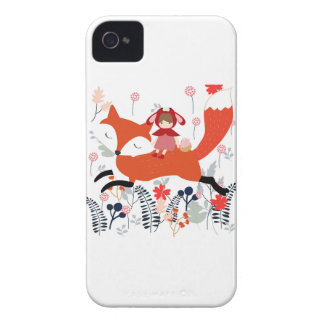 Red hood riding girl and fox in flower garden Case-Mate iPhone 4 cases