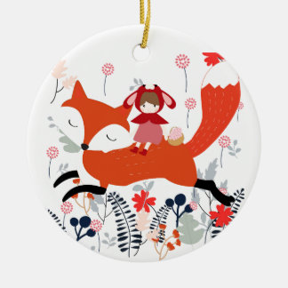 Red hood riding girl and fox in flower garden ceramic ornament