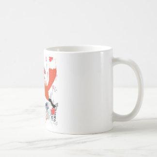 Red hood riding girl and fox in flower garden coffee mug