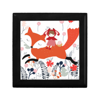 Red hood riding girl and fox in flower garden gift box