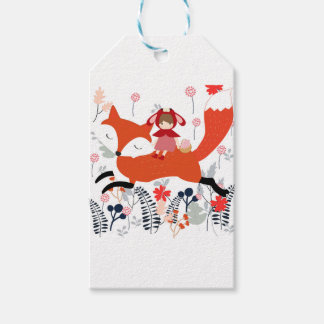 Red hood riding girl and fox in flower garden gift tags