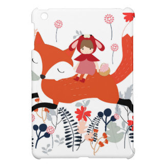 Red hood riding girl and fox in flower garden iPad mini case