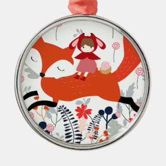 Red hood riding girl and fox in flower garden metal ornament