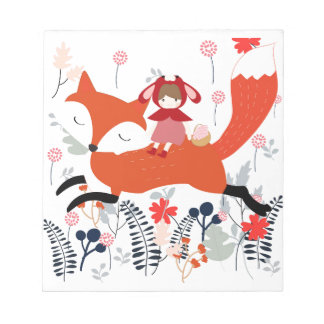 Red hood riding girl and fox in flower garden notepad