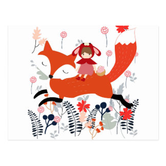 Red hood riding girl and fox in flower garden postcard