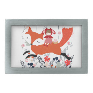 Red hood riding girl and fox in flower garden rectangular belt buckles