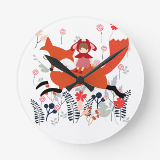Red hood riding girl and fox in flower garden round clock