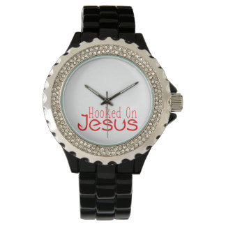 Red Hooked On Jesus Black Rhinestone Watch