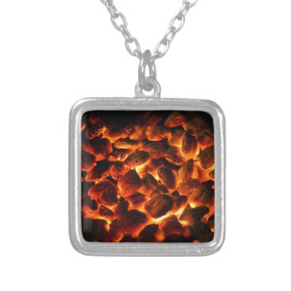 Red Hot Burning Coals Silver Plated Necklace