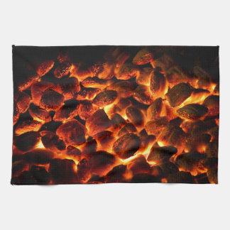 Red Hot Burning Coals Tea Towel