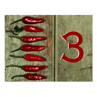 Red Hot Chili Peppers Wood Look Table Number Postcard