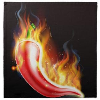 Red Hot Chilli Pepper on Fire Napkin
