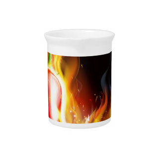 Red Hot Chilli Pepper on Fire Pitcher
