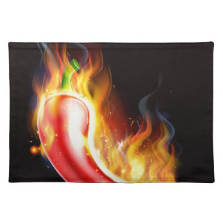 Red Hot Chilli Pepper on Fire Placemat