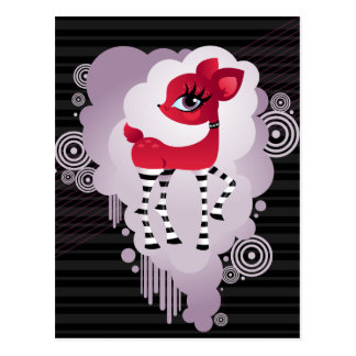 Red Hot Deerie in Black and White Stripes Postcard