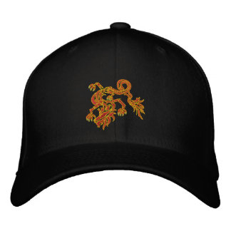 Red hot dragon embroidered baseball caps