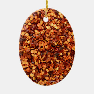 Red hot dried chilli flakes ceramic oval decoration