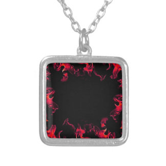 Red Hot Flame Designs Silver Plated Necklace