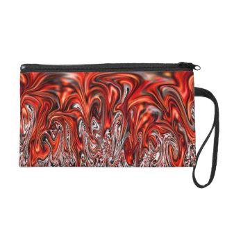 Red Hot Flowing Metal Bagettes Wristlet Bag