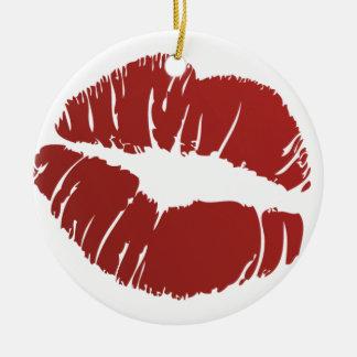 Red Hot Kiss Ceramic Ornament