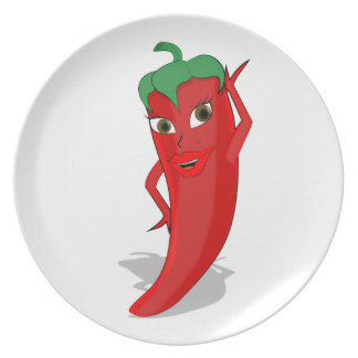 Red Hot Pepper Diva Party Plates
