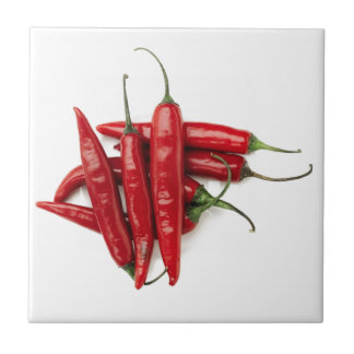 Red Hot Peppers Small Square Tile
