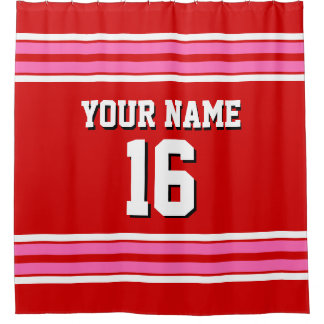 Red Hot Pink White Stripes Sports Jersey Shower Curtain