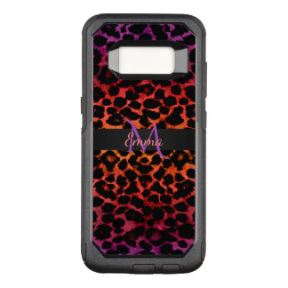 Red Hot Purple and Black Animal Monogram OtterBox Commuter Samsung Galaxy S8 Case