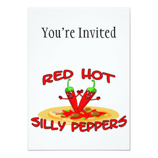 Red Hot Silly Peppers 13 Cm X 18 Cm Invitation Card