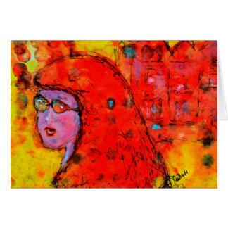 Red Hot Summer Girl Art Whimsy Female Card