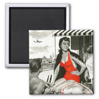 Red Hot Woman Square Magnet