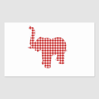 Red Houndstooth Elephant Rectangular Sticker