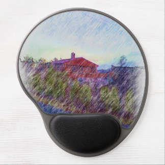 red House drawing Gel Mouse Pad