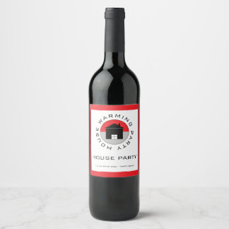 Red House Logo, Housewarming Party Wine Label