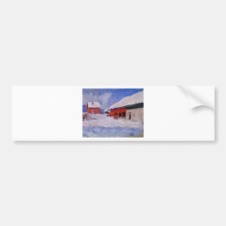 Red Houses at Bjornegaard in the Snow, Norway Bumper Sticker