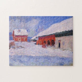Red Houses Bjornegaard Snow Norway Monet Fine Art Jigsaw Puzzle