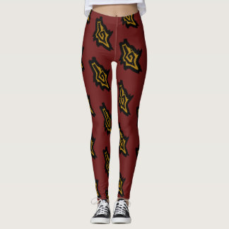RED HOWLING WOLF DOG HEAD by Slipperywindow Leggings