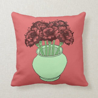Red-Hued Carnations Throw Pillow