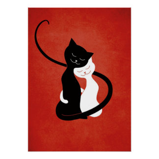 Red Hugging Love Cats Poster