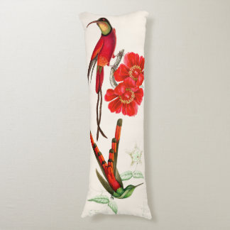 Red Hummingbird Birds Wildlife Flowers Body Pillow